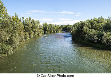 Views of the River Esla on its way through Villanueva de las...