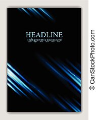 Abstract blue glowing stripes vector flyer design