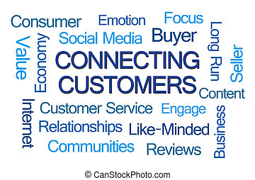 Connecting Customers Word Cloud on White Background