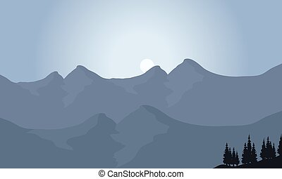 View of mountain with moon