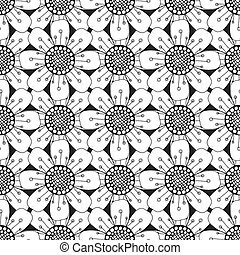 pattern with abstract flowers - Seamless pattern with...
