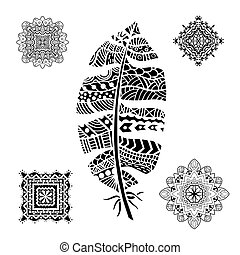 Feather and mandalas on a white background. Vintage, tribal,...