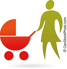 Mother with a pram - A silhouette of a mother with baby...