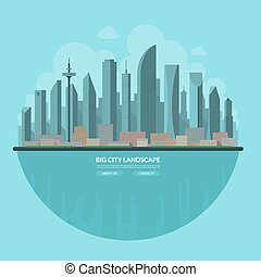 Modern city landscape. Flat vector illustration