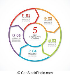 Infographic circle template. Simple vector concept banner with 5 options, steps, parts