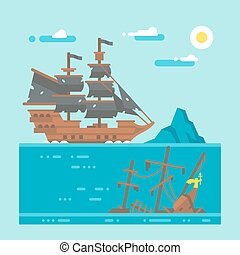 Flat design pirate shipwreck illustration vector