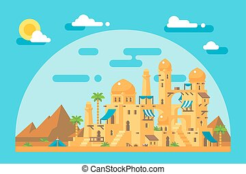 Flat design arab mud village illustration vector