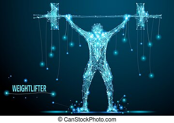weightlifter poly blue - Abstract weightlifter with...