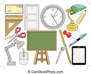 set of object related with office and education