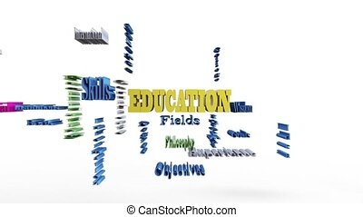 Animation of education word cloud, 3d render