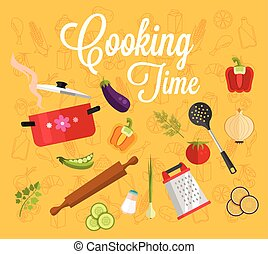 Cooking time Vector flat illustration