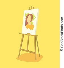 Easel with woman portrait Vector flat illustration
