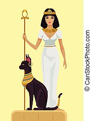 Cleopatra and black cat Vector flat illustration