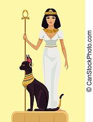 Cleopatra and black cat. Vector flat illustration