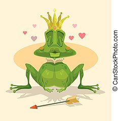 Queen frog Vector flat cartoon illustration