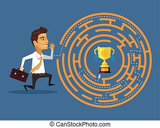 Way to succes. Vector flat illustration