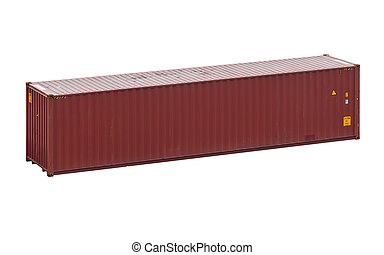 Freight shipping container, isolated on a white background -...