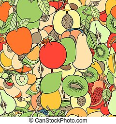 fruits and berries - pattern with set of sweet fruits and...
