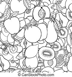 set of sweet fruits - Monochrome Seamless pattern with set...