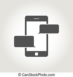 Vector black text messaging icon Text Messaging Icon Object,...