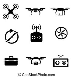 Vector black drone  icon set