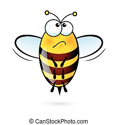 Cartoon Bee - Illustration of a Friendly Cute Bee in Sorrow