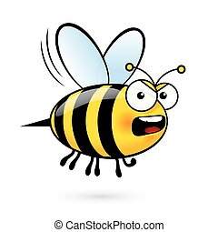 Cartoon Bee - Illustration of a Yell Bee on White