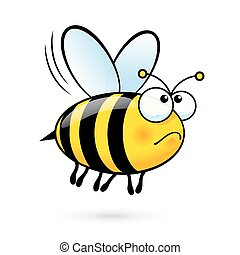 Cartoon Bee - Illustration of a Friendly Cute Bee in Sorrow...