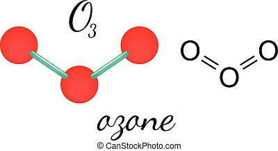 O3 ozone molecule - O3 ozone 3d molecule isolated on white