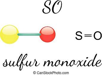 SO sulfur monoxide molecule - SO sulfur monoxide 3d molecule...