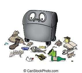 dustbin waste garbage trash - cartoon dustbin waste garbage...