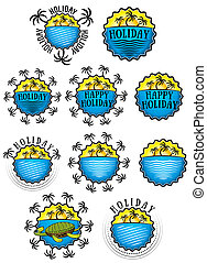 sun beach palms holiday design - holiday sticker with sun...