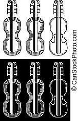 violin silhouette black and white