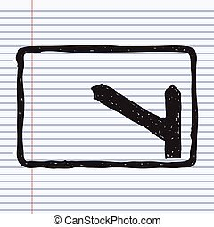 Simple doodle of a road sign showing turn off - Simple hand...