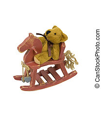 Teddy Bear on a Painted Rocking Horse - Antique retro teddy...
