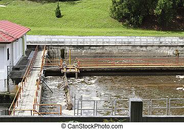 Al aire libre, vista, aguas residuales, Procesamiento,...