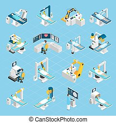 Robotic Surgery Isometric Icons Set - Robotic surgery...