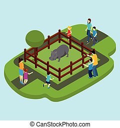 Hippo And Zoo Illustration