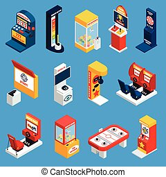 Game Machine Isometric Icons - Game machine isometric icons...