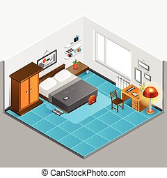 Home Interior Isometric Illustration - Home interior...