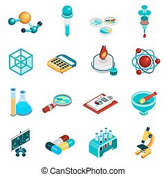 Science Icons Set - Science isometric icons set with...