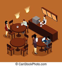 Waitress Barista People Isometric Brown Poster - Coffee shop...