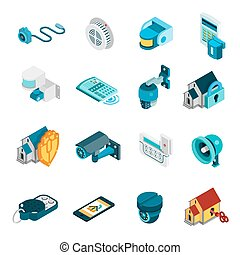 Security System Icons Set - Security system isometric icons...