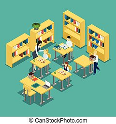 Education Middle School Classroom Isometric Banner -...