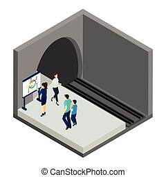 Waiting For Underground Train Illustration - People waiting...