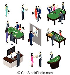 Casino Isometric Set - Casino and people isometric set with...