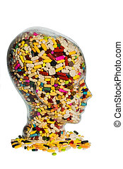head made of glass with tablets