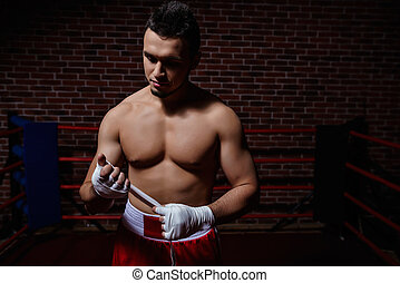 Sportsman - Young sportsman in boxing ring