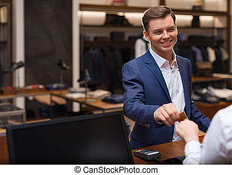 Businessman in store