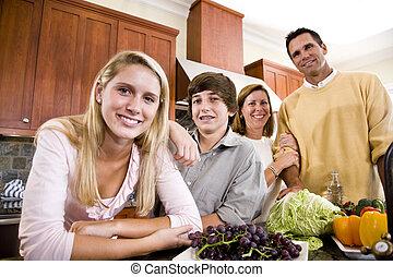feliz, familia, adolescente, niños, cocina